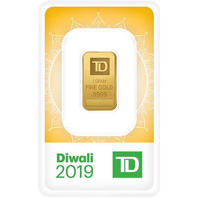 A picture of a 1 gram TD Diwali Gold Bar (2019)