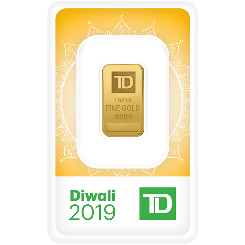 Image for 1 gram TD Diwali Gold Bar (2019) from TD Precious Metals