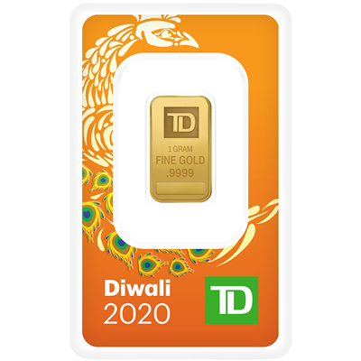 A picture of a 1 gram TD Diwali Gold Bar (2020)