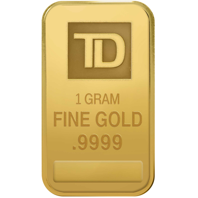 A picture of a 1 gram TD Gold Bar