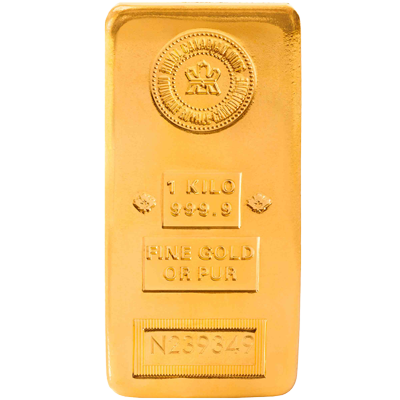 A picture of a 1 kg Royal Canadian Mint Gold Bar