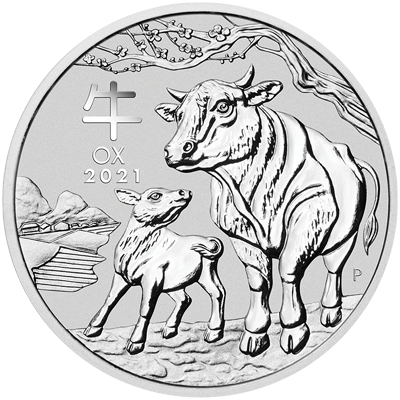 A picture of a 1 kg Australian Silver Lunar Ox Coin (2021)