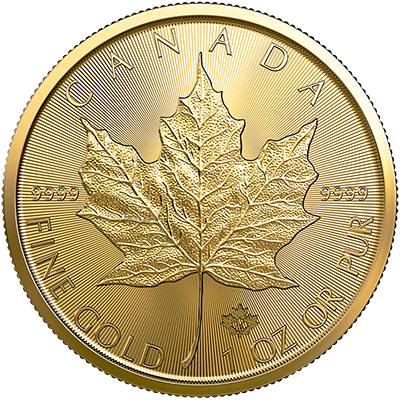 A picture of a 1 oz. Gold Maple Leaf Coin (2019)
