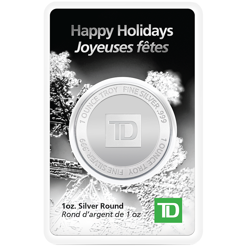 Image for 1 oz TD Happy Holidays Silver Round from TD Precious Metals