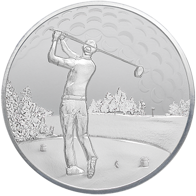 A picture of a 1oz. TD Silver Golfer's Round