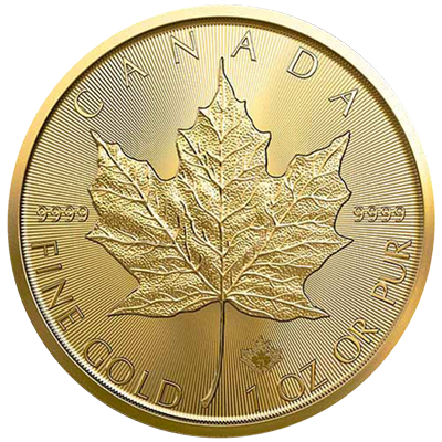 A picture of a 1 oz. Gold Maple Leaf Coin (2021)