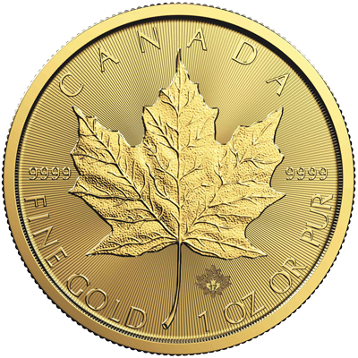 A picture of a 1 oz. Gold Maple Leaf Coin (Random Year)