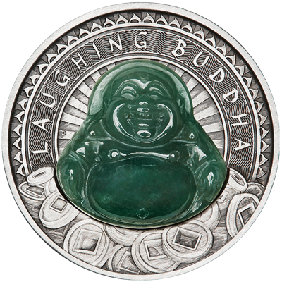 A picture of a 1 oz Silver Laughing Buddha Antiqued Coin (2019)