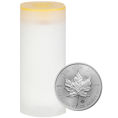 A picture of a 1 oz 2020 Silver Maple Leaf Tube (25 Pieces)