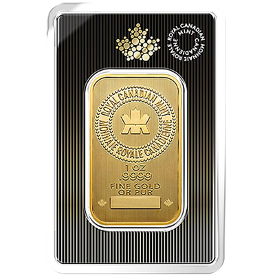 A picture of a 1 oz. Royal Canadian Mint Gold Bar