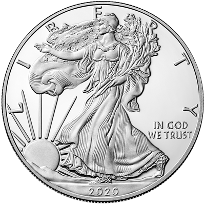 A picture of a 1 oz Silver American Eagle (2020)