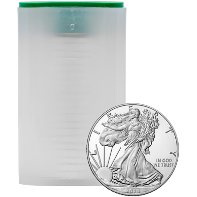 A picture of a 1 oz 2020 American Silver Eagle Tube (20 pieces)