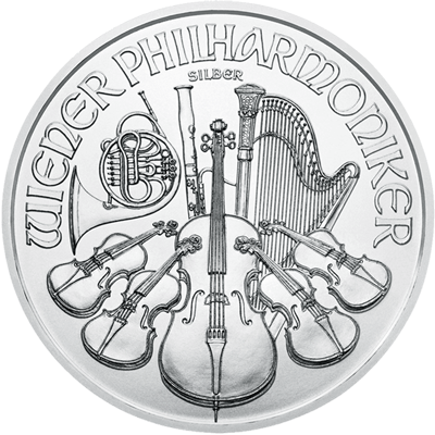 A picture of a 1 oz Silver Austrian Philharmonic Coin (2020)