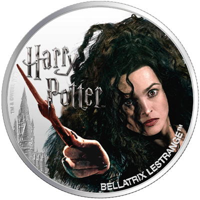 A picture of a 1 oz Silver Bellatrix Lestrange Coin (2020)
