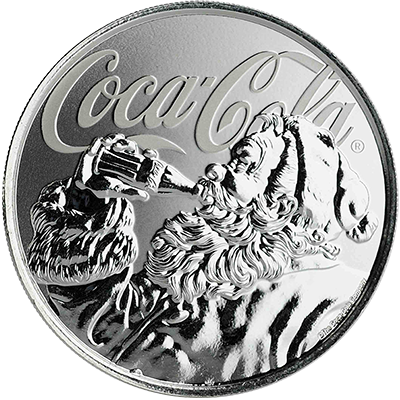A picture of a 1 oz. Silver Coca-Cola Holiday Coin (2019)