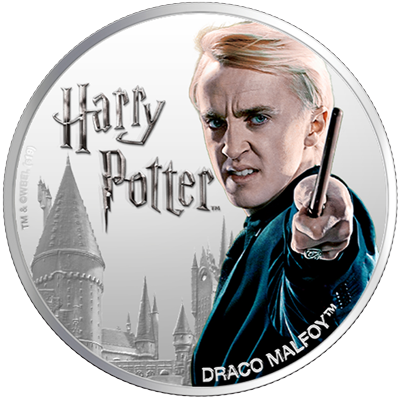 A picture of a 1 oz Silver Draco Malfoy Coin (2020)