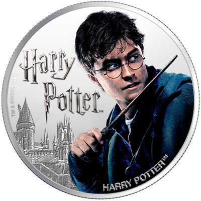 A picture of a 1 oz Silver Harry Potter Coin (2020)