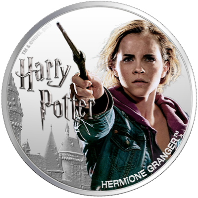 A picture of a 1 oz Silver Hermione Granger Coin (2020)