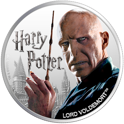 A picture of a 1 oz Silver Lord Voldemort Coin (2020)