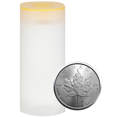A picture of a 1 oz. 2021 Silver Maple Leaf Tube (25 Pieces)