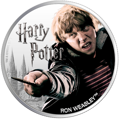 A picture of a 1 oz Silver Ron Weasley Coin (2020)