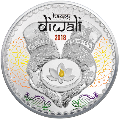 A picture of a 1 oz. TD Diwali Silver Round (2018)