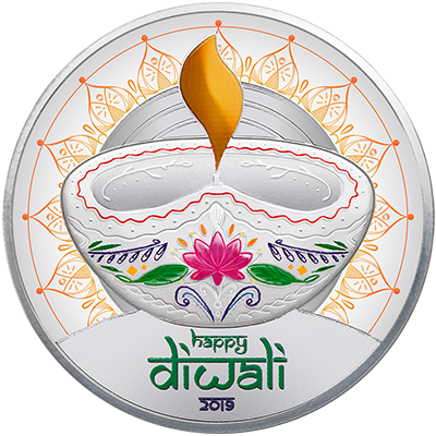 A picture of a 1 oz. TD Diwali Silver Round (2019)