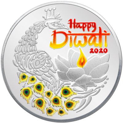 A picture of a 1 oz. TD Diwali Silver Round (2020)