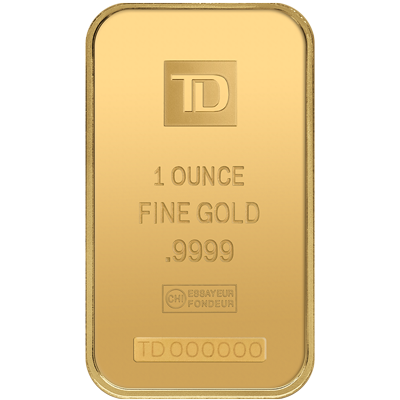 A picture of a 1 oz. TD Gold Bar
