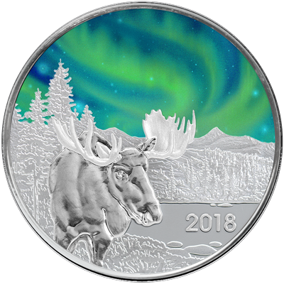 A picture of a 1 oz. TD Northern Lights Silver Round (2018 Moose Edition)