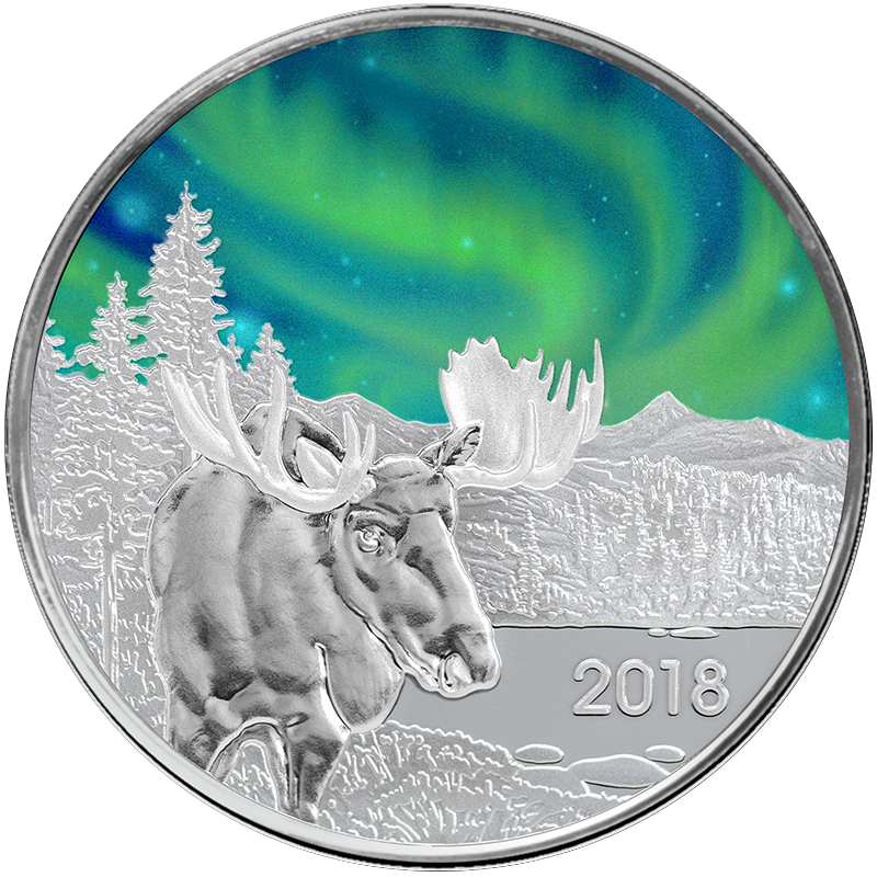 Image for 1 oz. TD Northern Lights Silver Round (2018 Moose Edition) from TD Precious Metals