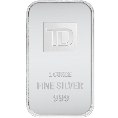 A picture of a 1 oz. TD Silver Bar