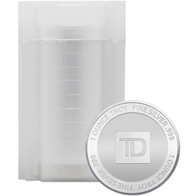 A picture of a 1 oz TD Silver Round Tube (20 Pieces)