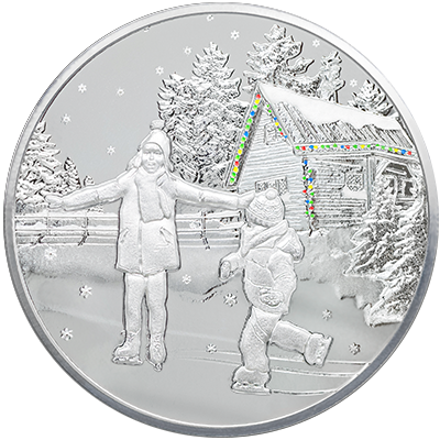 A picture of a 1 oz. TD Snowfall Silver Round