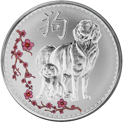 A picture of a 1 oz. TD Year of the Dog Silver Round