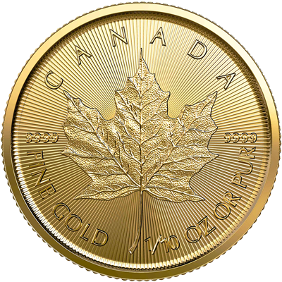 A picture of a 1/10 oz Gold Maple Leaf Coin (2020)