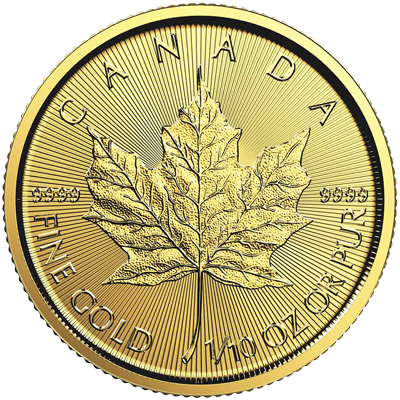 A picture of a 1/10 oz. Gold Maple Leaf Coin (Random Year)