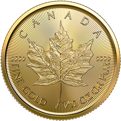A picture of a 1/10 oz. Gold Maple Leaf Coin (2019)