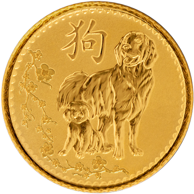 A picture of a 1/10 oz. TD Year of the Dog Gold Round