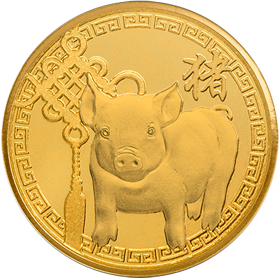 A picture of a 1/10 oz. TD Year of the Pig Gold Round