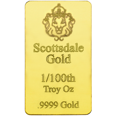 A picture of a 1/100 oz Scottsdale Gold Bar