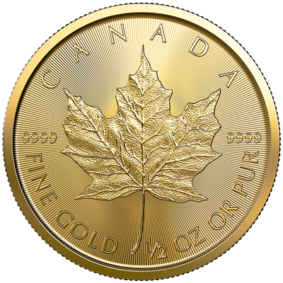 A picture of a 1/2 oz Gold Maple Leaf Coin (2020)