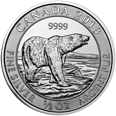 A picture of a 1/2 oz Royal Canadian Mint Silver Polar Bear Coin (2018)