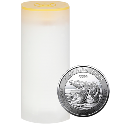 A picture of a 1/2 oz 2020 Royal Canadian Mint Silver Polar Bear Coin Tube (20 Pieces)