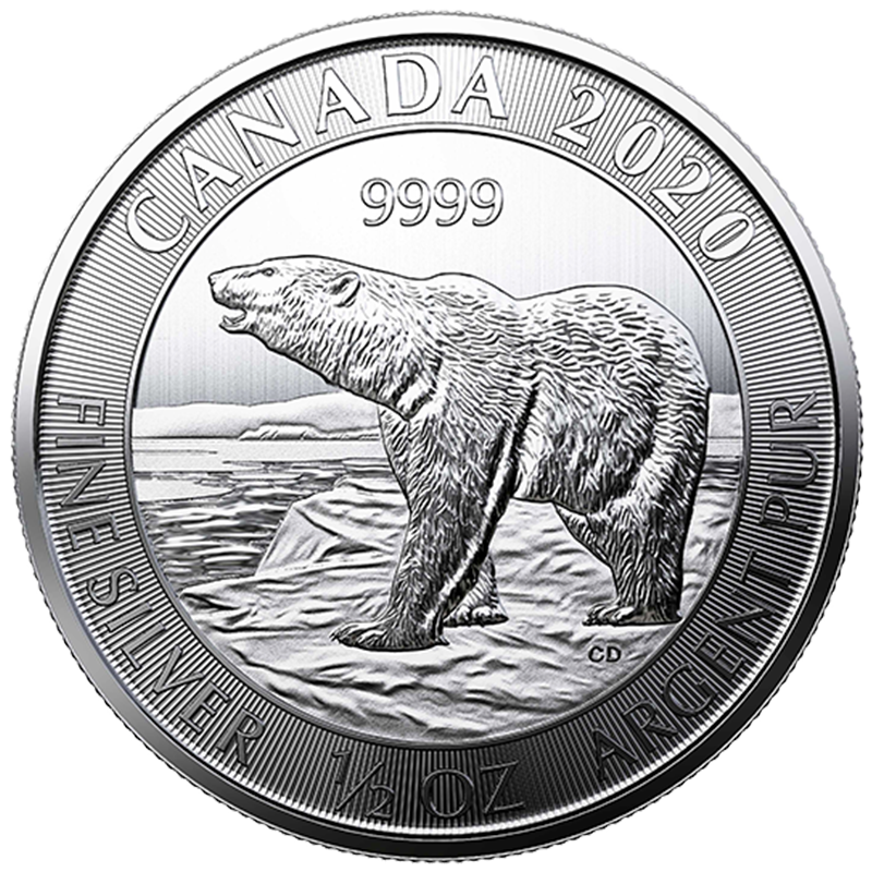 Image for 1/2 oz Royal Canadian Mint Silver Polar Bear Coin (2020) from TD Precious Metals