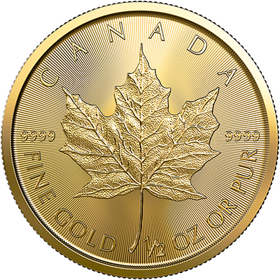 A picture of a 1/2 oz. Gold Maple Leaf Coin (2019)