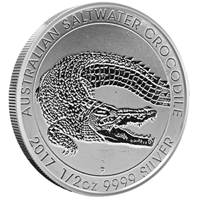 A picture of a 1/2 oz Perth Saltwater Silver Crocodile Coin (2017)