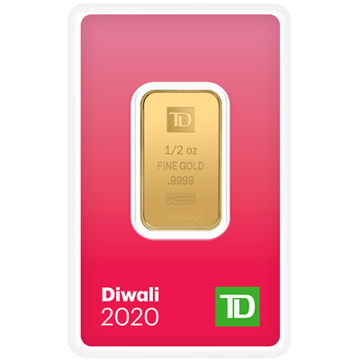 A picture of a 1/2 oz. TD Diwali Gold Bar (2020)