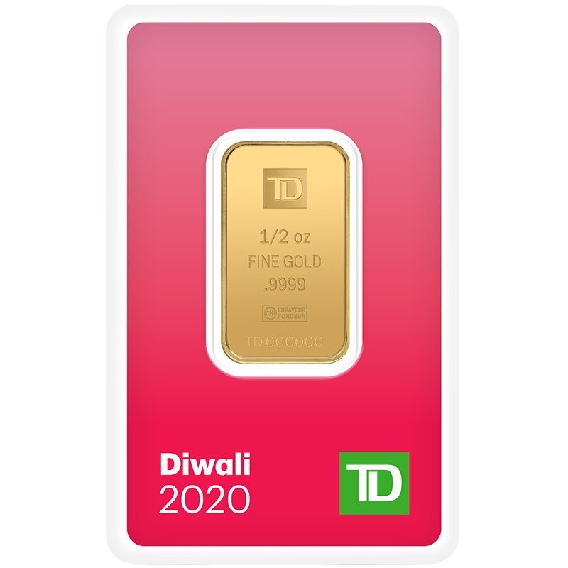 Image for 1/2 oz. TD Diwali Gold Bar (2020) from TD Precious Metals