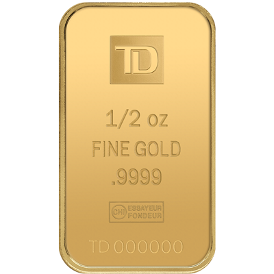 A picture of a 1/2 oz TD Gold Bar